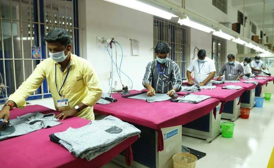 People working in Tiruppur Factory