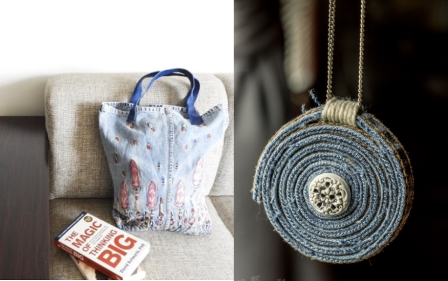 Two products made of recycled Jeans