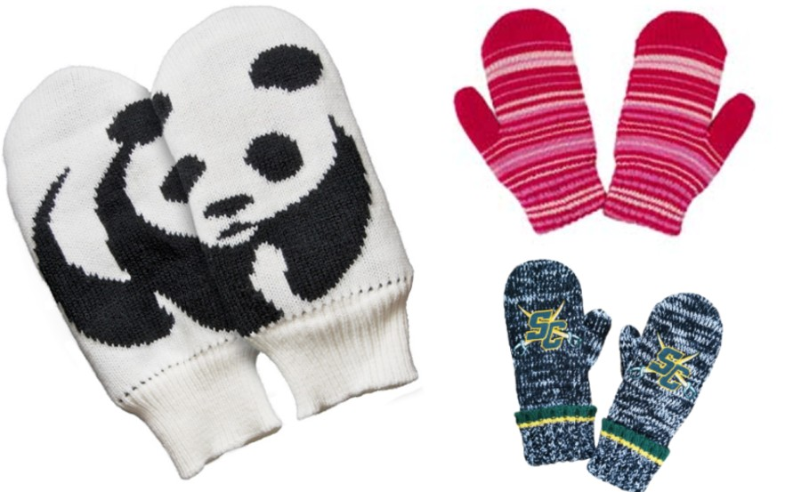 3 Mittens of different designs